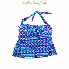 Jessica Simpson Juniors Navajo Tankini Swim Top Size 1X 2X Ruffle Blue NEW  B35
