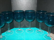 DRINKING GLASSES 6 COCKTAIL/WINE GOBLETS SHATTER PROOF PLASTIC BLUE W/CLEAR STEM