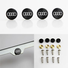 Laser Etched 4 Black Aluminum Audi License Plate Frame Fastener Screw Cap Cover