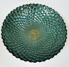 """16"""" ARTISTIC ACCNT PEACOCK TEAL+GOLD 3D FORGED GENUINE SILVER GLASS BOWL,PLATTER"""