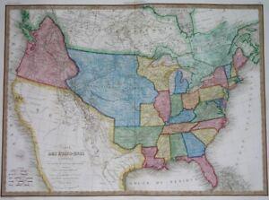 1832 RARE ORIGINAL MAP TEXAS CALIFORNIA in MEXICO UNITED STATES CANADA MONTREAL