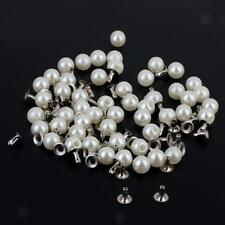 100pcs Pearls Rivets Studs 6mm for DIY Leather Bag Shoes Clothes Decoration