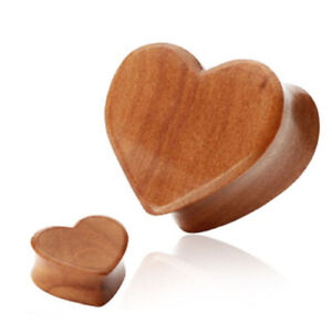 Pair of  Organic Red Cherry Wood Heart Ear Plugs Tunnels Earlets Expanders E37