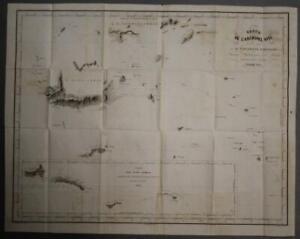 FIJI & SAMOA ISLANDS 1842 VINCENDON DUMOULIN ANTIQUE LITHOGRAPHIC SEA CHART