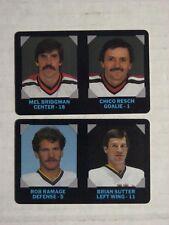 1985 7-11 Hockey cards - 2, Ramage/Sutter, Bridgman/Resch