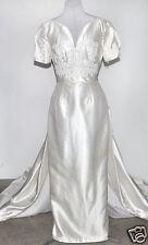 Venus Silk Floral/Pearl Detail Wedding Gown Sz.12W 100% Silk, Detachable Train
