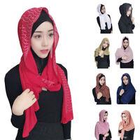 Hijab Women Plain Chiffon Long Scarf Muslim Head Wrap Shawl Scarves Islam Stoles