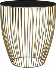 NEW Tesco Antique Brass Effect Metallic Wire Frame Side Table - Black