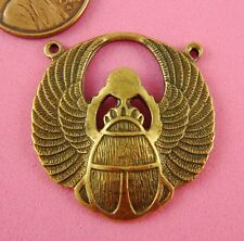 ANTIQUE BRASS 2 RINGED WINGED SCARAB-1 PC(s)