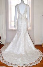 Beautiful Ivory Lace A Line Wedding Gown Dress sz 6 - 8 Medium M Train NEW Bride