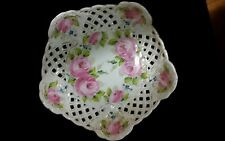 Old Country Roses China Footed Cake Plate Stand Lattice Work