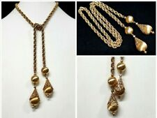 VTG MONET Chunky Runway Lariat Necklace Heavy Chain Tassel Statement Gold Tone