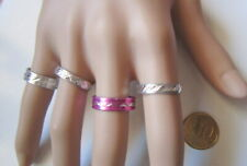 Lote 4 anillos aluminio colores nº 8 ó 17 mm diámetro medio bisutería r-26