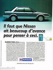 PUBLICITE ADVERTISING 065  1986  NISSAN  BLUEBIRD TURBO 135 cv