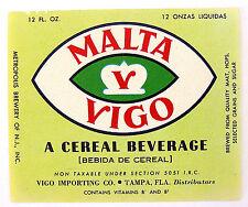 VIGO IMPORTING by Metropolis Brewery MALTA VIGO beer label FL 12oz Non Tax. 5051