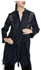 Zara Navy Blue Lace and Linen Tunic Top L