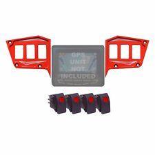 2 Piece Dash Panel 6 Switch Billet GPS COMBO Polaris RZR Trail 900 Havasu Red