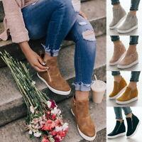 Summer Women's Casual Ankle Boot High Top Hidden Heels Sneaker Flat Shoes GIFT