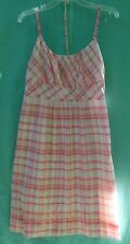 NY & CO. Pink Plaid w/Silver Accents Spaghetti Strap 100% Cotton Sundress Sz 10