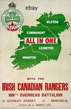 WW1 RECRUITING POSTER CONNAUGHT'S 199TH CANADIAN IRISH RANGERS  NEW A4 PRINT