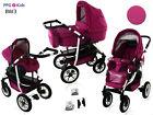 Baby Pram Pushchair Buggy Stroller + Car Seat + ISOFIX, Travel System 3in1 4in1