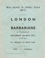 Londra V barbari 1935 RUGBY programma Jubilee fondo fiduciario corrispondono
