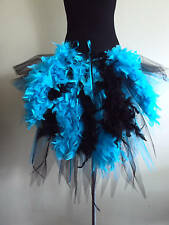 Black Burlesque Blue Tutu Skirt Bustle Feathers plus size  Halloween Mardi Graz