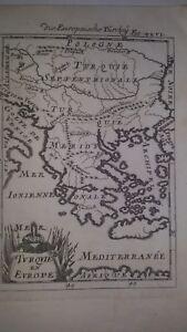 1686 Grecia 2  -Mappa antica originale - autore Manaisson Mallet