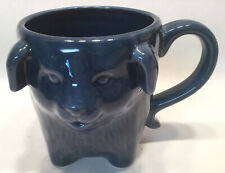Smiling Dog Figural Coffee Mug With Tail For Handle Cobalt Blue