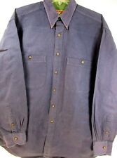 Adirondack Men L/S Button Front/Button Collar Shirt Size M Blue Mountain Twill