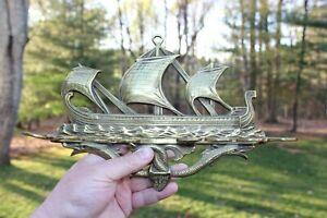 Vintage Brass Viking Ship Tobacco Pipe Holder