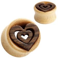 Pair of Bamboo Wood Ear Tunnels - Heart Inlay - Organic Gauges Plugs Earrings