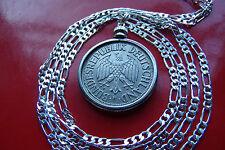 "Rare 1950 German  Deutschemark Bezel Pendant on a 30"" 925 Sterling Silver Chain"