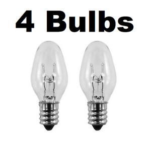 4 Nightlight Bulbs 15C7, Clear, 15 Watt, 120 Volt, E12 Candelabra Base
