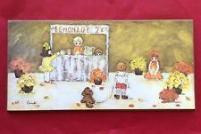 Vintage 1970's Art by Candi Children's Lemonade Stand Print Mounted on Wood 12x6