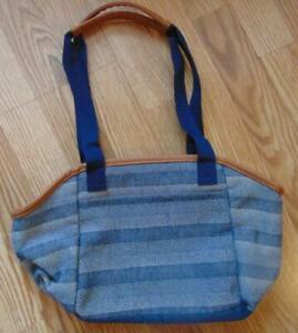 Thirty One Insulated Thermal Lunch Bag Blue White Woven Striped  Purse EUC