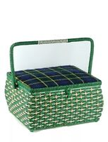 Vintage JCPenney Sewing Box Wicker Woven Padded Plaid Fabric Top Japan Green