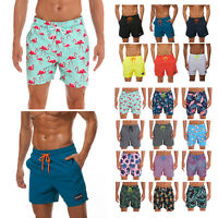 Men Swimwear Quick Dry Lined with Pockets drawstring Summer Holiday Beach Shorts