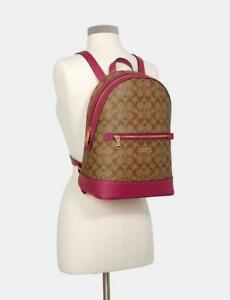 Coach Kenley Backpack In Signature Canvas Purse Pebble Leather Book Bag $398