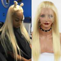 Top Glueless Peruvian Virgin Human Hair 360 Lace Front Wig Blonde Straight Wigs