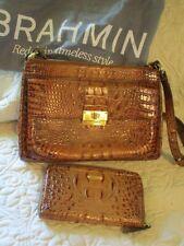Brahmin Purse Carmel Brown Croc Print w Matching Zip Wallet & Dust Bag