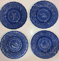 "4 San Raphael Bordallo Pinheiro Seashell Blue 9 3/8"" Luncheon Plates Blue Ocean"