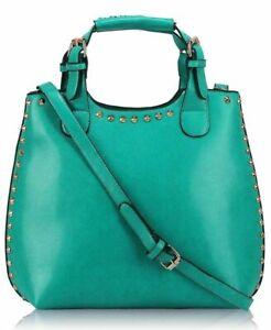 Ladies Leather Style Studded Satchel Handbag Celebrity Bucket Tote Shopper Bag