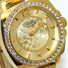 NWT Coach Women's Watch Yellow Gold SS Swarovski Mini BOYFRIEND 14501700 $275
