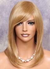 Human Hair Blend Long Blonde mix Stright HEAT SAFE Wig w. bangs nar 27-613