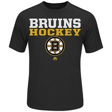 Boston Bruins Majestic Feel The Pressure Cool Base Black Tee Adult XL T-Shirt