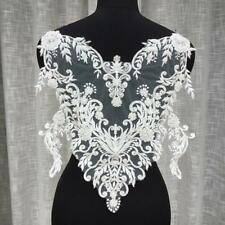 Embroidery Beaded Lace Appliques Patch Bodice Sewing on Wedding Full Dress 1 PC
