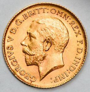 LUSTROUS HIGH GRADE 1913 King George V Gold Half Sovereign