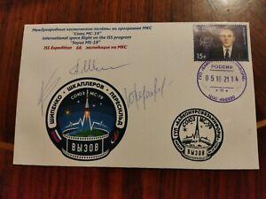 "Postal envelope Soyuz MS-19 Expedition 66 ISS autographs ""Challenge"" RARE"