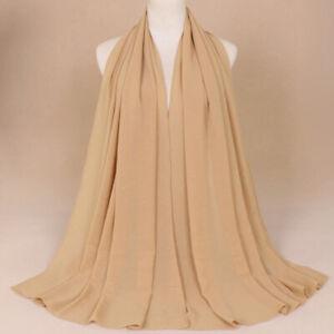 Women's Shimmer Glitter Plain Color Chiffon Muslim Hijab Scarf Shawl Head Wrap